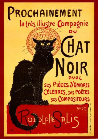 Affiche du célèbre cabaret montmartrois LeCHat noir, fondé par Rodolphe Salis.