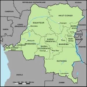 Carte de la RDC.