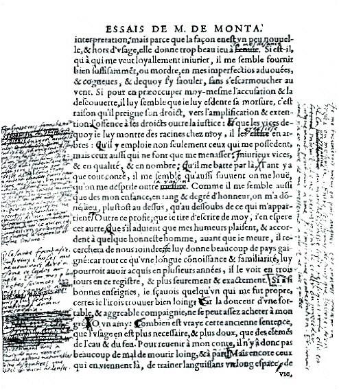 Edition des Essais de Montaigne et annotations de son auteur.