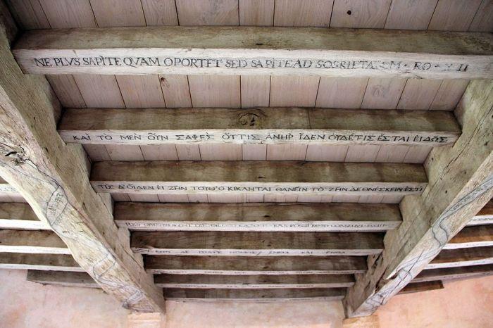 """Montaigne inscrit des préceptes en grec et en latin sur les poutres de sa bibliothèque. Une seul est en français : """"Que sais-je?"""""""