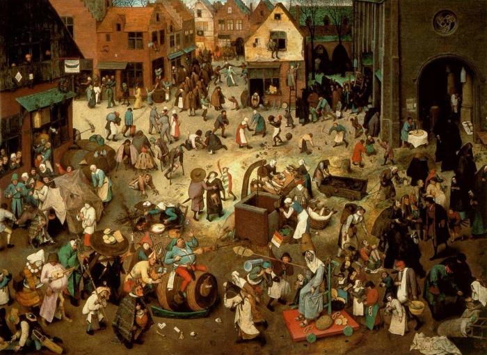 Combat entre Carnaval et Carême, Brueghel l'Ancien, 1559.