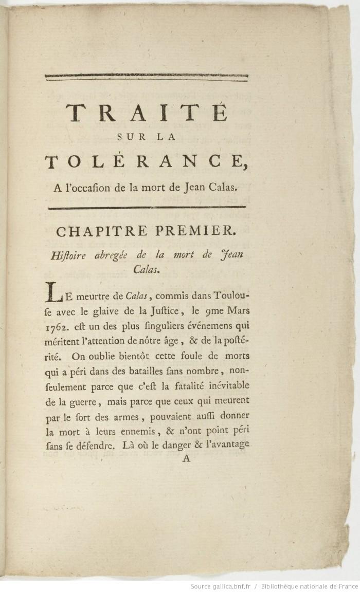 Traité sur la Tolérance, Voltaire, 1763.