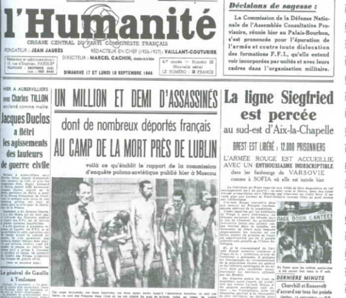 La une de L'Humanité sur la libération du camp de Lublin en septembre 1944.
