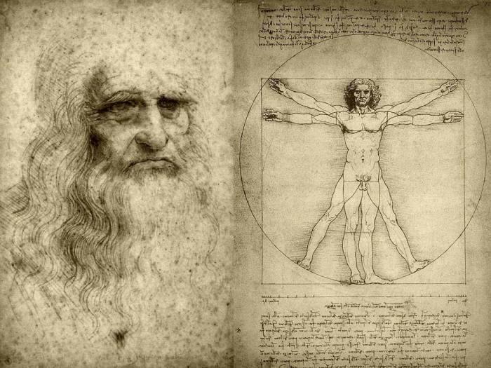 Etude des proportions du corps humain selon Vitruve, réalisée par Léonard de Vinci vers 1492.