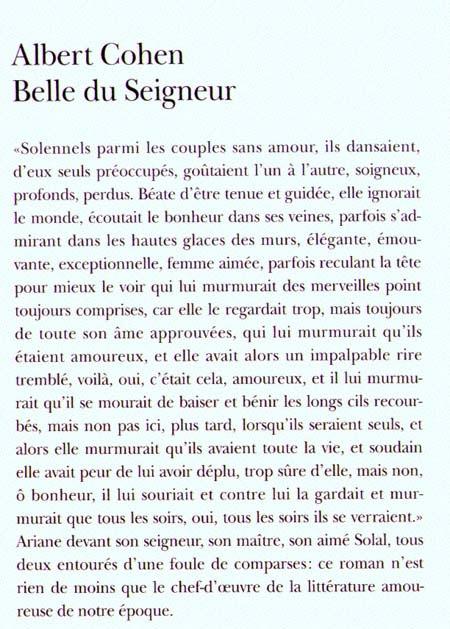 Extrait de Belle du Seigneur, Albert Cohen.