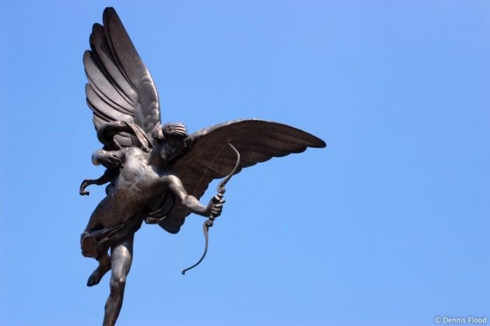 Célèbre statue d'Eros de Picadilly Circus, Alfred Gilbert (1892).