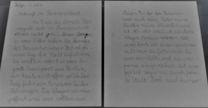 Lettre d'une petite fille racontant son arrivée à Terezin. Synagogue Pinkas, Prague.